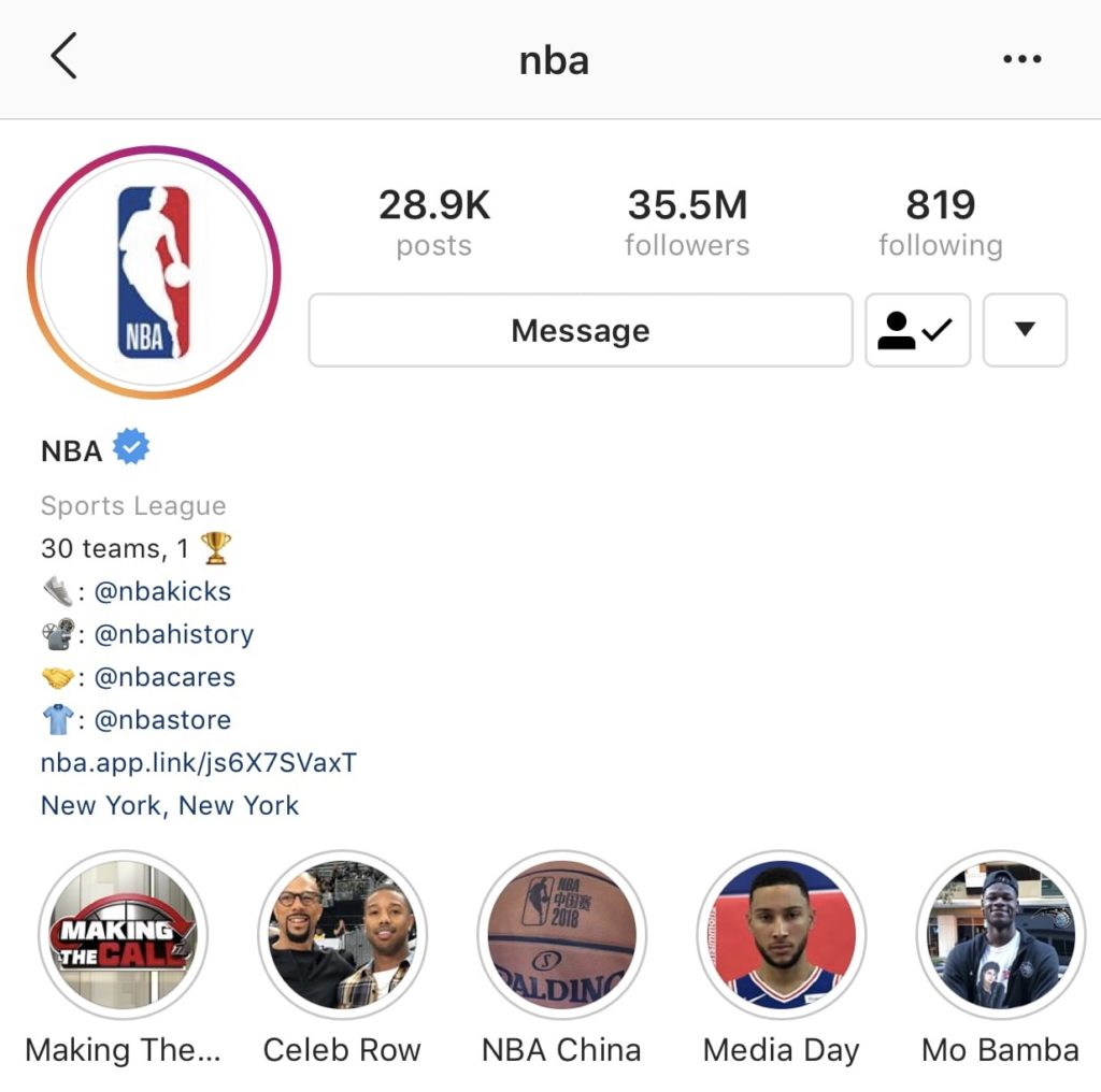 NBA Instagram page example